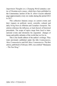 Alan Murdock- Impertinent Thoughts on a Changing World 2014 to 2017 Back Cover