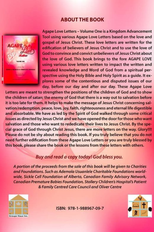 The back cover of Agape Love Letters - Volume 1 by Ademola and Christiana Usuanlele