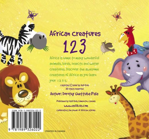 african creatures 123 by asili kids back cover