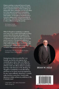 Back Cover of 26 Thoughts on Leadership by Brian Hesje