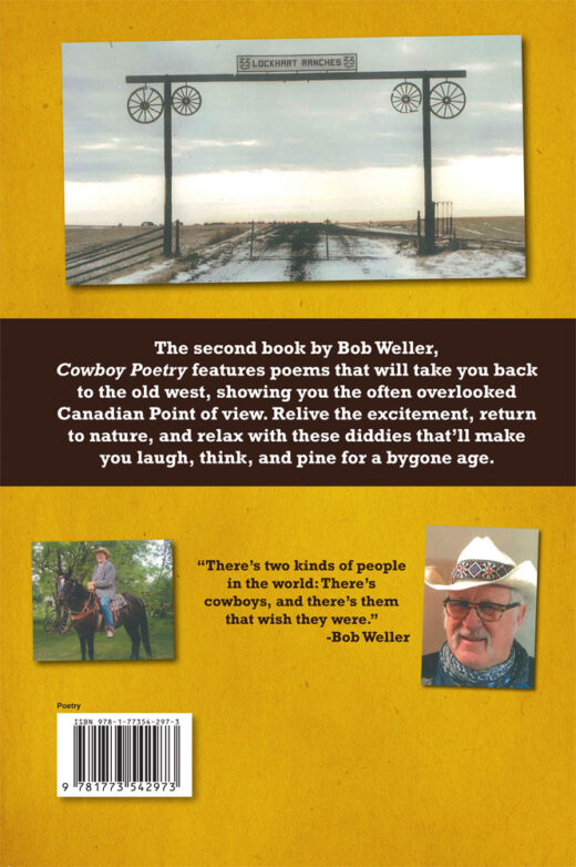 back cover of cowboy poetry by bob weller