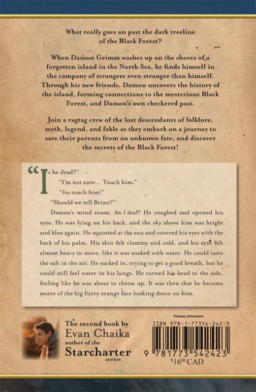 back cover of grimmhaven - secrets of the black forest by evan chaika