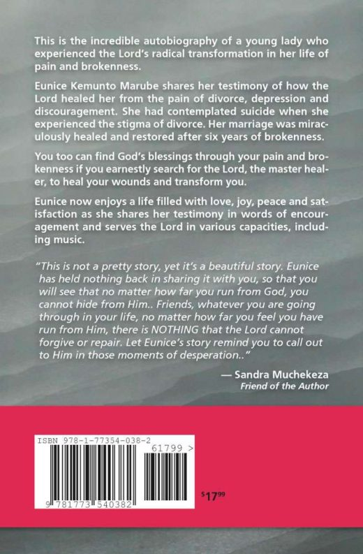 The back cover of Broken but Blessed, by Eunice Kemunto Marube