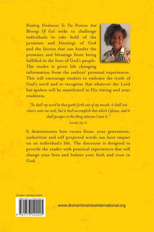 back cover of breaking hindrances to the promises and blessings of god by evelyn b. morris