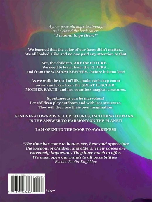 "The back cover of ""Wind Walker: Stir the Magic"" by Esther Supernault and Eveline Poulin-Kaybidge"
