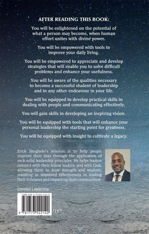 back cover of the making of a leader by erick shogholo