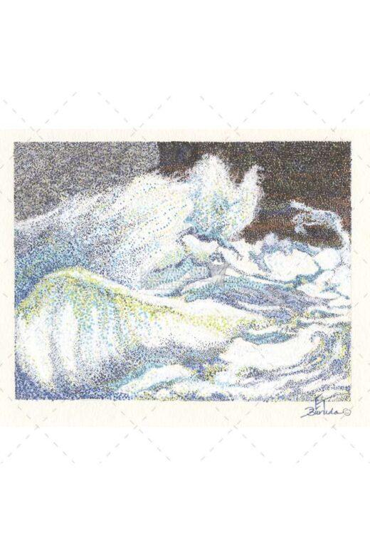 Ocean Alive by Elaine Tsuruda pointillism art print