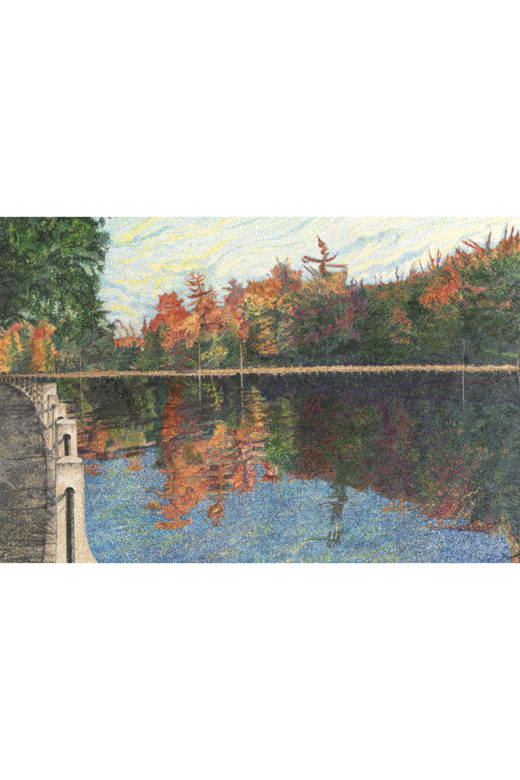 A Stroll by the Canal by Elaine Tsuruda pointillism art print
