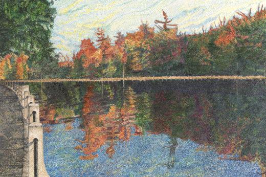 A Stroll by the Canal by Elaine Tsuruda pointillism art print
