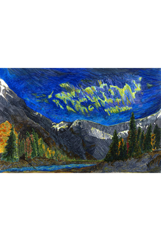 Aurora Mountain Delight by Elaine Tsuruda pointillism art print