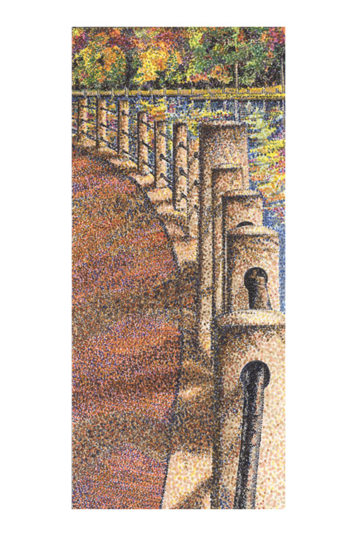 By the Canal by Elaine Tsuruda pointillism art print