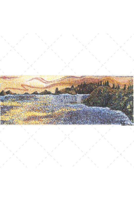 Sunset Waters by Elaine Tsuruda pointillism art print