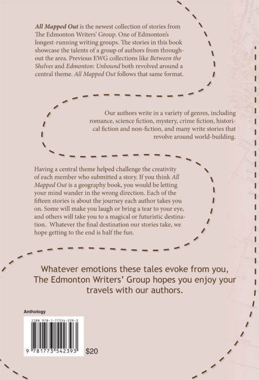 back cover of all mapped out by edmonton writers'group
