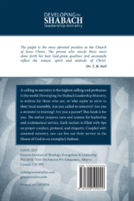 Back Cover of Developing the Shabach Leadership Ministry by Dr. T.B. Neil