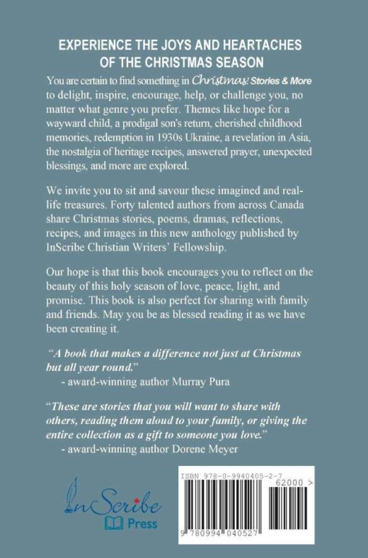 The back cover of Christmas: Stories and More by InScribe Christian Writers' Fellowship