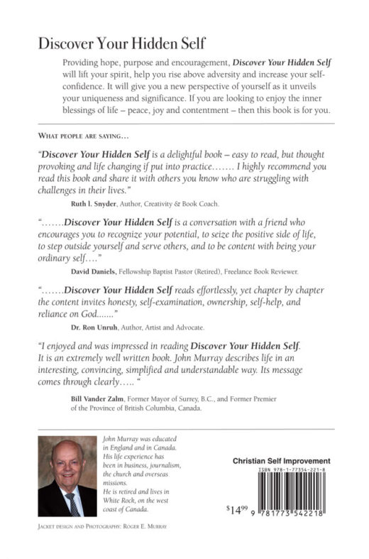 back cover of discover your hidden self by john murray
