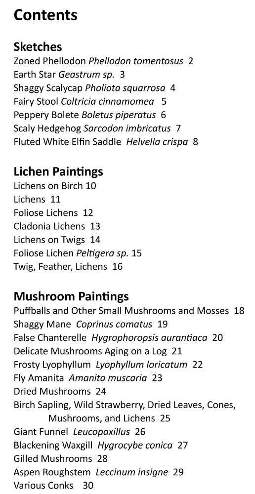 Mushrooms and Lichens by Joan Sherman Table of Contents Page