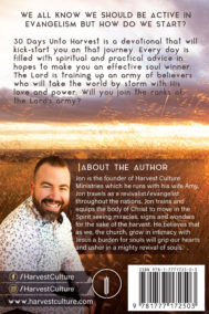 Back cover of 30 Days Unto Harvest by Jon Laframboise