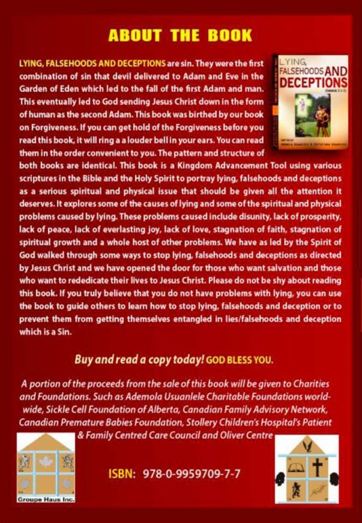The back cover of Lying, Falsehoods and Deceptions, by Ademola and Christiana Usuanlele
