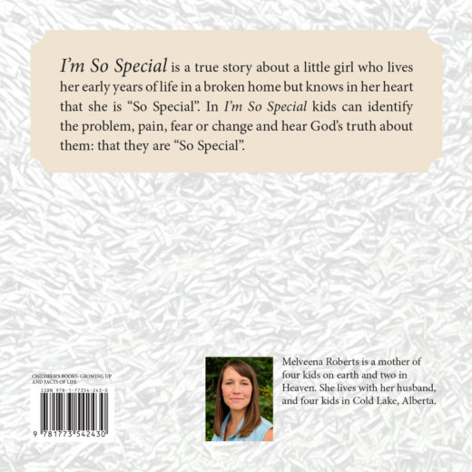 back cover of i'm so special by melveena roberts