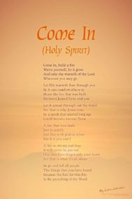 Come In (Holy Spirit) poster by poet Lorn Johnson