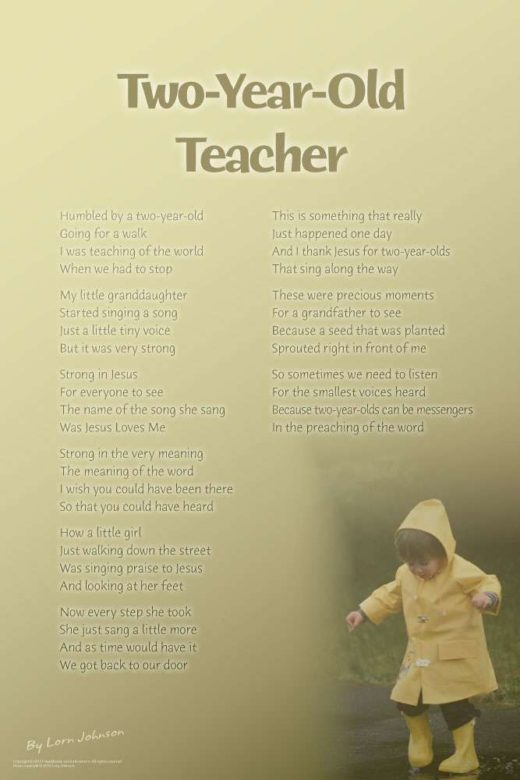 Two-Year-Old Teacher poster by poet Lorn Johnson