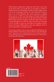 Back Cover of Canada: Land of Doers by Willy Kaysire