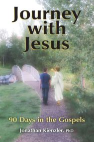 Front Cover of Journey with Jesus. Shows a man walking with an image of Jesus