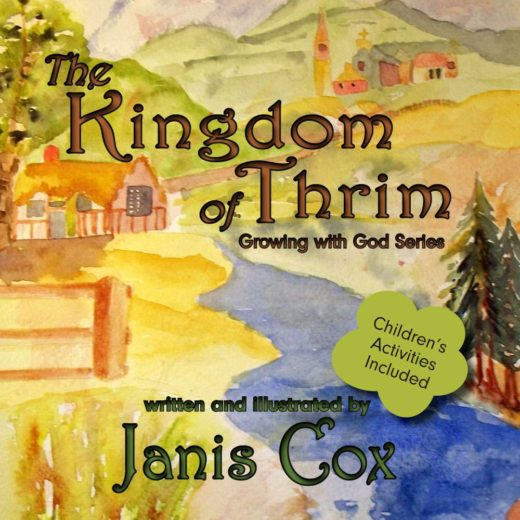 The front cover of The Kingdom of Thrim. Features a colourful hand-painted rural landscape.