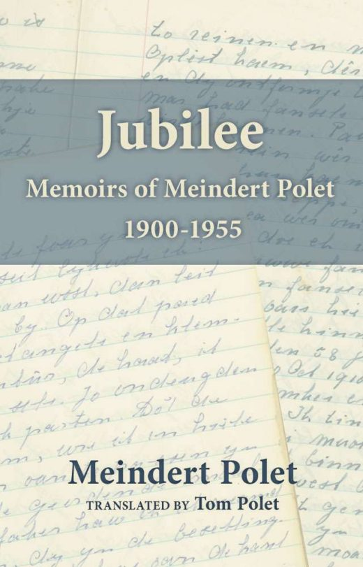 Front cover of Jubilee. Features samples of Meindert's writing (in Friesian) as the background.