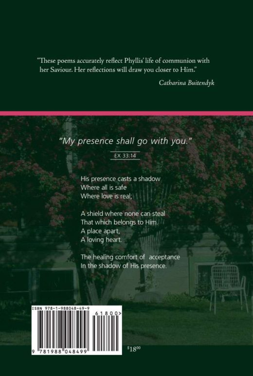 The Back cover of The Comfort of His Shadow. Features a photograph of a tree covered in pink flowers.