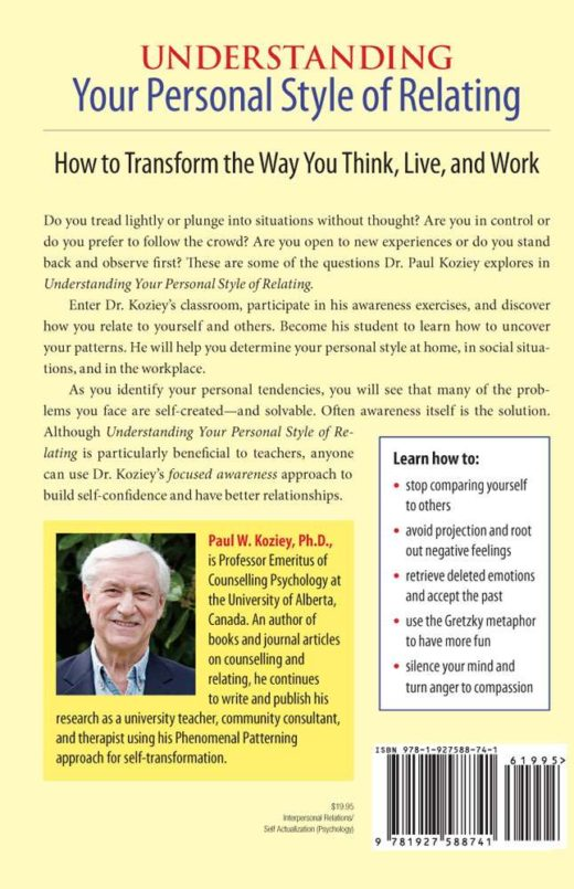 "The back cover of ""Understanding Your Personal Style of Relating"" by Paul Koziey"