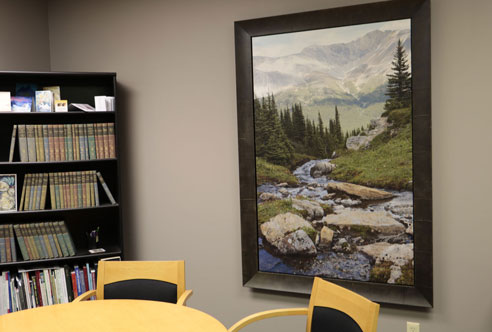 meeting room with mountain pic